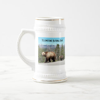 Wild Grizzly Bear Mama and Cubs in Yellowstone Beer Stein