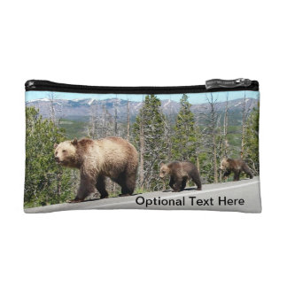 Wild Grizzly Bear Mama and Cubs in Yellowstone Makeup Bag