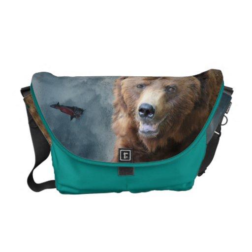 Wild Grizzly Bear & Salmon Wildlife Messenger Bag