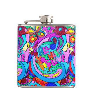 wild groovy colors peace love flask