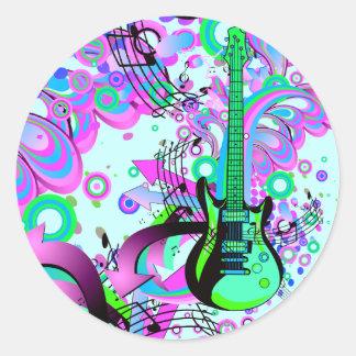 Wild Guitar (light blue) Classic Round Sticker