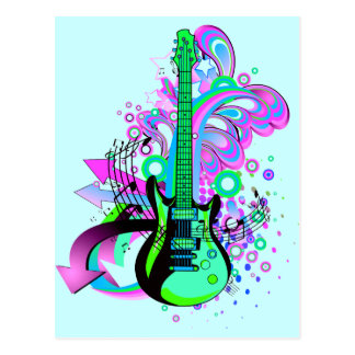 Wild Guitar (light blue) Postcard