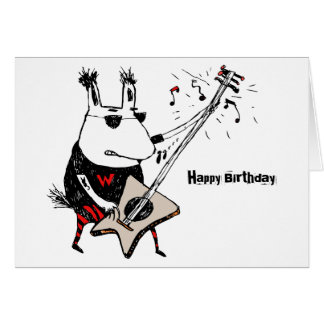 Wild Guitar Wolf Greeting Card