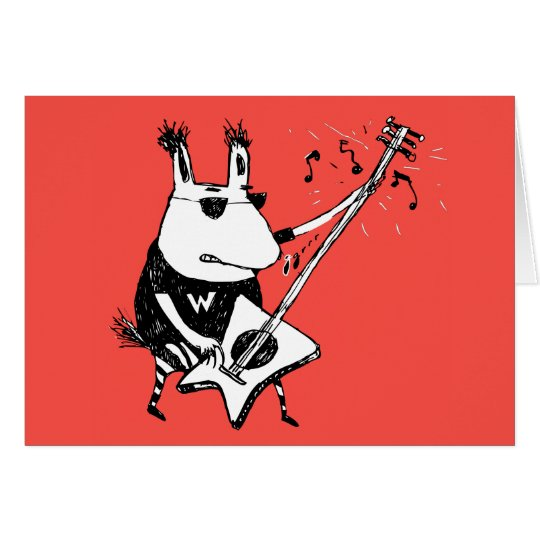 Wild Guitar Wolf Orange Greeting Card