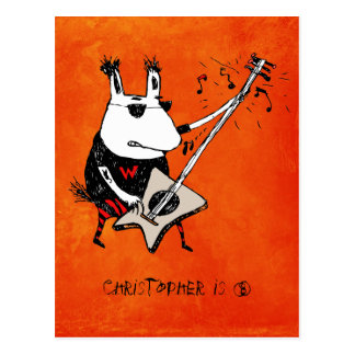 Wild Guitar Wolf Orange Grunge Birthday Postcard
