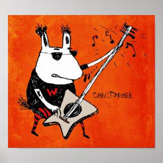 Wild Guitar Wolf Orange Grunge Poster