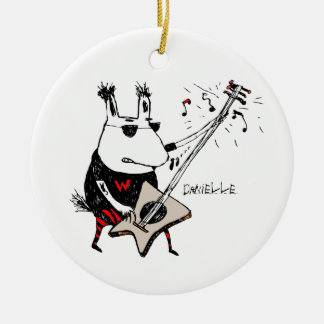 Wild Guitar Wolf Ornament (Circle)