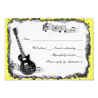 Wild Guitar Yellow Music RSVP Card