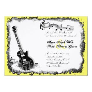 Wild Guitar Yellow Music Wedding Invitation at Zazzle