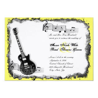 Wild Guitar Yellow Music Wedding Invitation at Zazzle