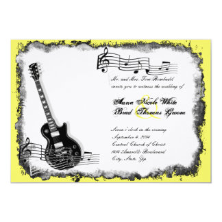 Wild Guitar Yellow Music Wedding Invitation