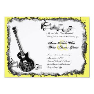 "Wild Guitar Yellow Music Wedding Invitation 5"" X 7"" Invitation Card"