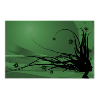 Wild Hair Lady Profile Silhouette - Black & Green Poster