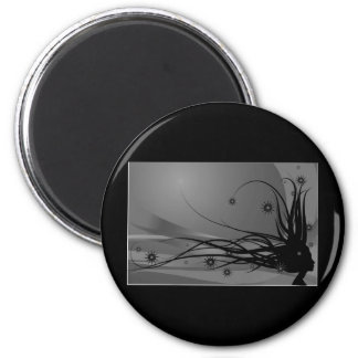 Wild Hair Lady Profile Silhouette - Black & Grey 2 Inch Round Magnet