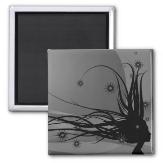 Wild Hair Lady Profile Silhouette - Black & Grey 2 Inch Square Magnet