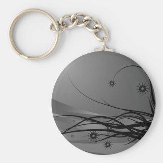 Wild Hair Lady Profile Silhouette - Black & Grey Basic Round Button Keychain