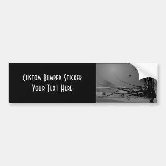 Wild Hair Lady Profile Silhouette - Black & Grey Bumper Sticker