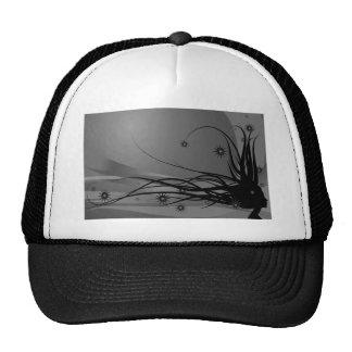 Wild Hair Lady Profile Silhouette - Black & Grey Mesh Hat