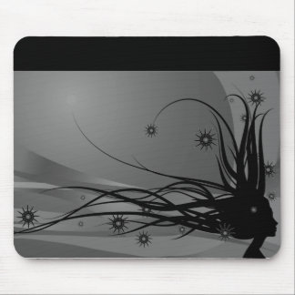 Wild Hair Lady Profile Silhouette - Black & Grey Mouse Pad