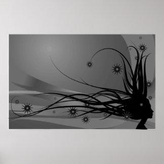 Wild Hair Lady Profile Silhouette - Black & Grey Poster