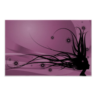 Wild Hair Lady Profile Silhouette - Black & Pink Poster