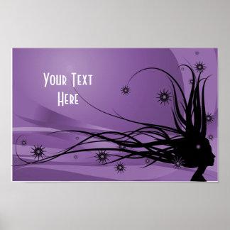 Wild Hair Lady Profile Silhouette -Black & Purple Poster