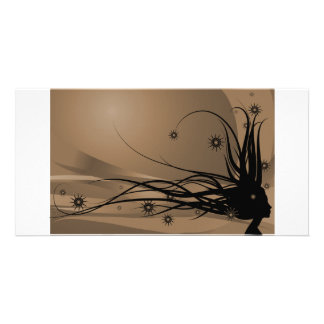 Wild Hair Lady Profile Silhouette - Black & Sepia Card