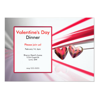 Wild Hearts Valentine's Day Dinner 5x7 Paper Invitation Card