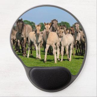Wild Herd Dulmen Horses with Cute Foals  ergonomic Gel Mouse Pad
