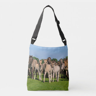 Wild Herd Dulmen Horses with Cute Foals Photo on Crossbody Bag