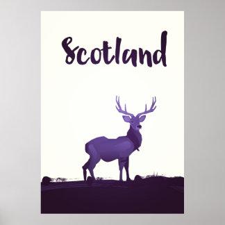 Wild Highland Scotland Stag Ink travel poster