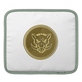 Wild Hog Head Angry Gold Coin Retro Sleeve For iPads