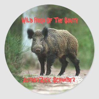 Wild Hogs Of The South, Author R... Classic Round Sticker