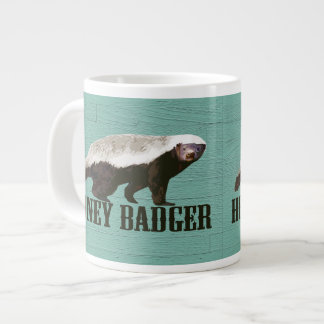 Wild Honey Badger Aqua, White, Brown Large Coffee Mug