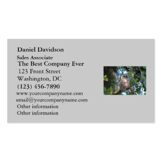Wild Hoot Owl Staring in the Forest Double-Sided Standard Business Cards (Pack Of 100)