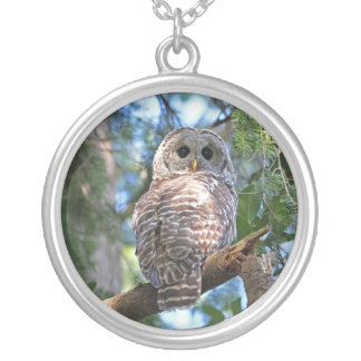 Wild Hoot Owl Staring in the Forest Necklace