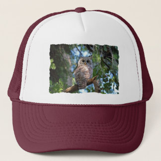 Wild Hoot Owl Staring in the Forest Trucker Hat