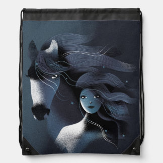 Wild Horse and a Girl Drawstring Backpack