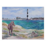 Wild Horse and Cape Lookout Lighthouse Poster