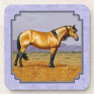 Wild Horse Buckskin Stallion Purple Beverage Coaster