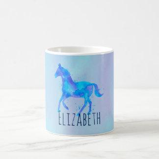 Wild Horse in Blue and Purple Watercolor Custom Coffee Mug