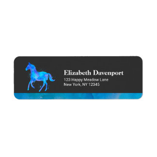 Wild Horse in Blue and Purple Watercolor Label
