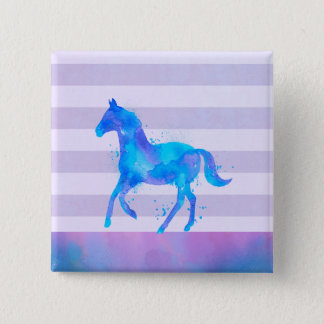 Wild Horse in Blue and Purple Watercolor Pinback Button