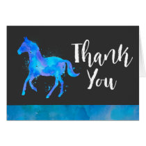 Wild Horse in Blue and Purple Watercolor Thank You