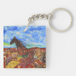 Wild Horse Double-Sided Square Acrylic Keychain