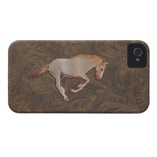 Wild Horse-lover Tooled Leather-look iPhone 4 Case