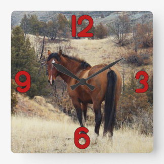 Wild Horse on Hill Square Wall Clocks