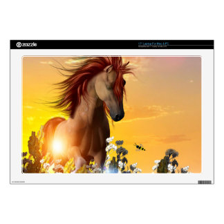 """Wild horse playing on the meadow 17"""" laptop skin"""