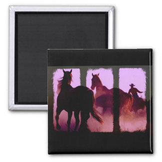 Wild Horse Roundup Triptych Magnet