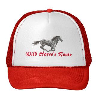 Wild Horse Route Style Trucker Cap in Red Trucker Hat